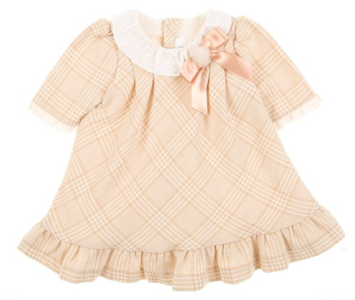 Baby Beige Check Print Dress