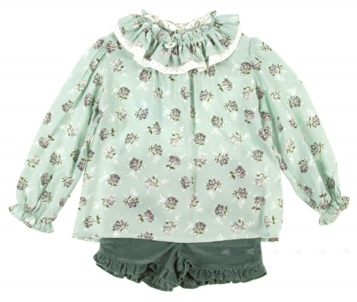 Pale Green Ruffle Collar Blouse & Corduroy frill Shorts set