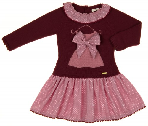 Burgundy Knitted Dress with Dusky Pink Polka Dot Skirt