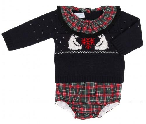 Navy Blue Baby Sweater with Tartan Shorts Set