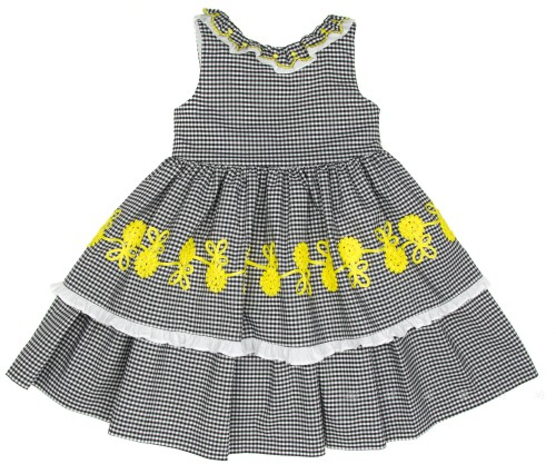 Black & White Check Print Layered Dress with Yellow Broderie