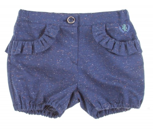 Navy Blue Melange Shorts