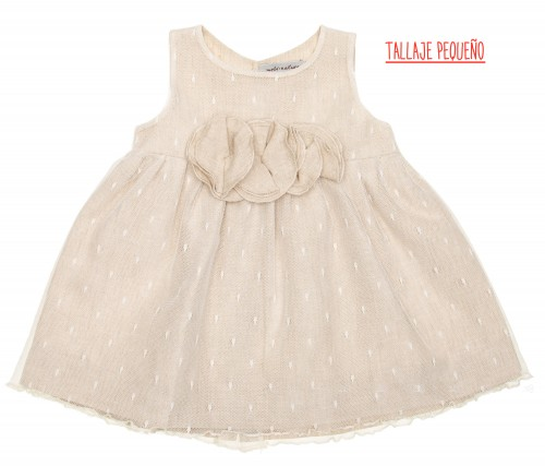 Beige Softt Polka Dot Tulle Dress