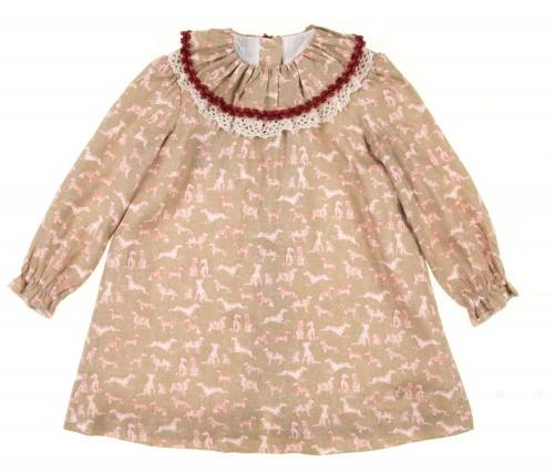 Beige Labrador Print Viscose Dress