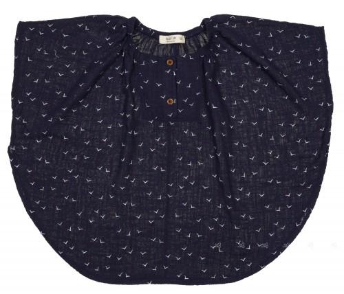 Girls Dark Blue Cotton Seagull Print Tunic Blouse