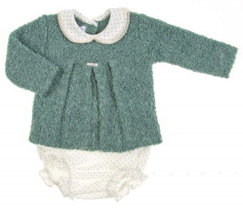 Green Boucle Knit Sweater & Stars Shorts Set