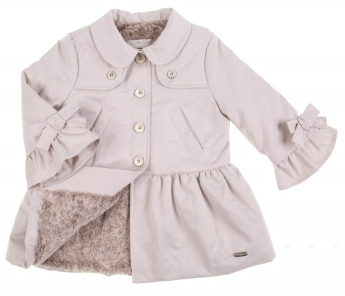 Tan Bow-Trim Peplum Raincoat with Faux-Fur lining