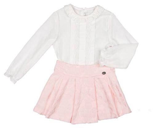 Girls Ivory Polka Dot Blouse & Pink Brocade Skirt Set