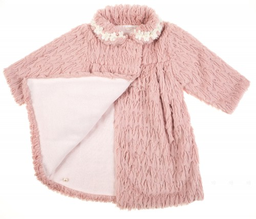 Dusky Pink Knitted & Synthetic Fur coat with floral applique