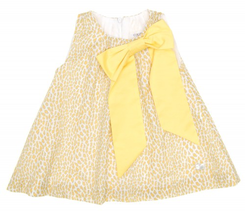 Yellow & Beige Animal Print Dress with Bow