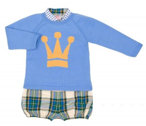 Boys Checked Shirt, Light Blue Crown Sweater & Wool Shorts Set