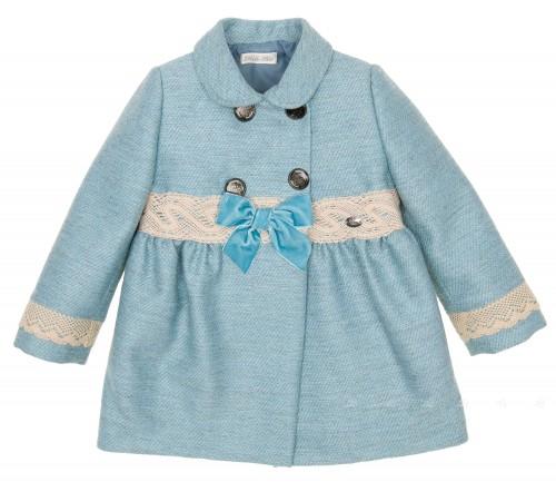 Girls Mint Coat with Beige Lace & Velvet Bows