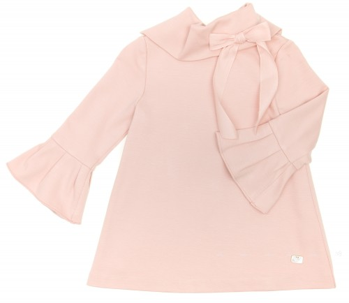Blush Pink Jersey Dress with Ruffle Cuffs & Bow