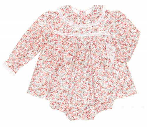 Baby Floral Dress With Ruffle Collar & Bloomers Set