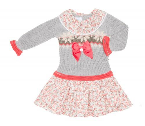 Girls Gray Knitted Sweater & Floral Skirt Dress