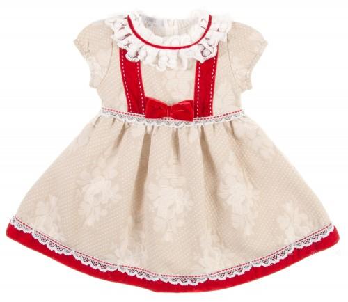 Beige & Red Brocade Dress