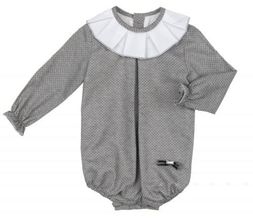 Gray & White Polka Dot Shortie with Ruffle Collar