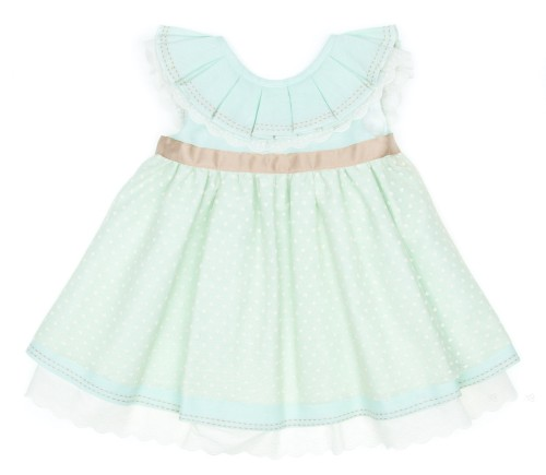 Pastel Green Linen & Tulle Layered Dress (DELIVERY 15 APRIL)