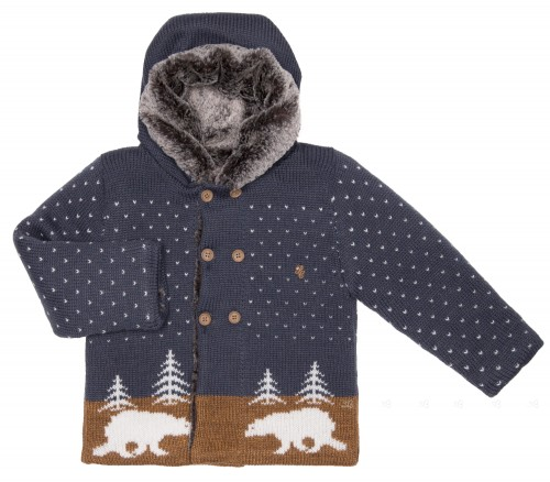 Blue & Mustard Polar Bear Knitted Pram Coat with Synthetic Fur Lining