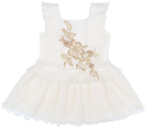 Rochy Vestido Niña Vintage Lino & Tul Crudo Con Apliques Dorados