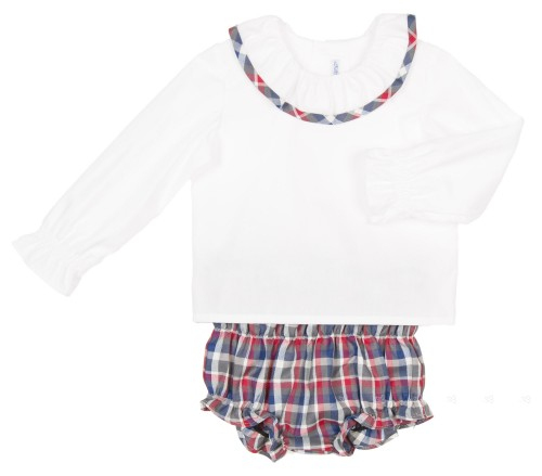 Baby White Cotton Poplin Shirt & Checked Short Set