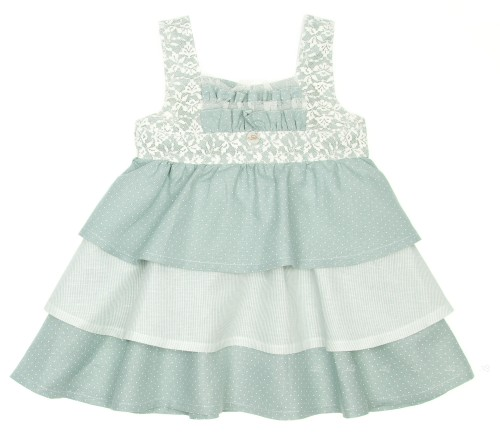 Pastel Green Layered Frilly Dress with Maxi Bow Belt
