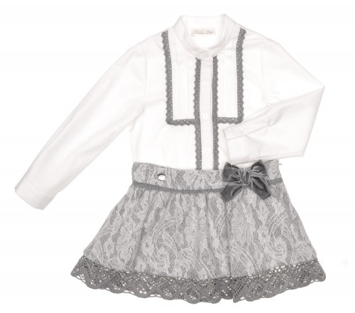 Ivory Shirt & Gray Skirt Set