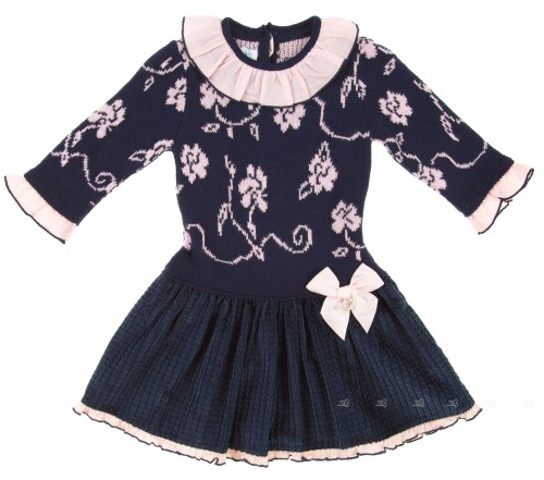 Navy Blue & Pink Knitted Dress with Corduroy Skirt