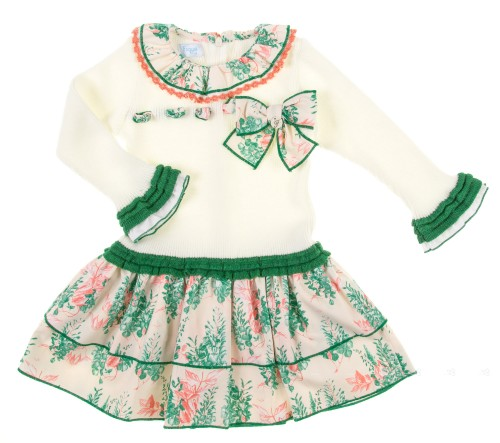Ivory & Green Trim Knitted Dress With Tiered Floral Skirt