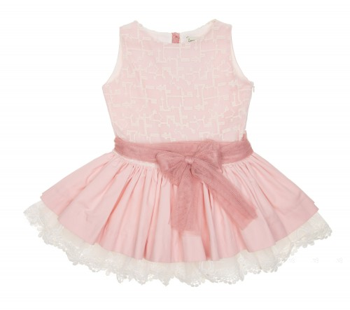 Pale Pink, Cotton & Guipure Dress with tulle belt