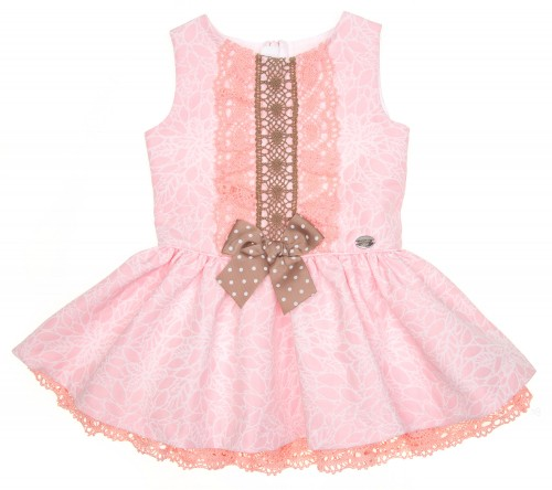 Pink Brocade Dress with Ruffle Skirt & Bow