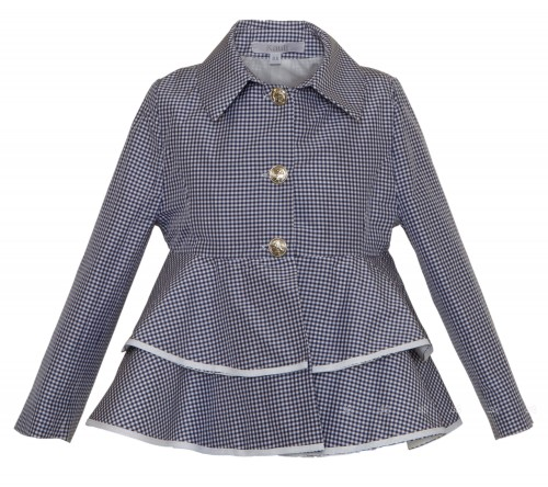 Navy Checked Trench with Peplum