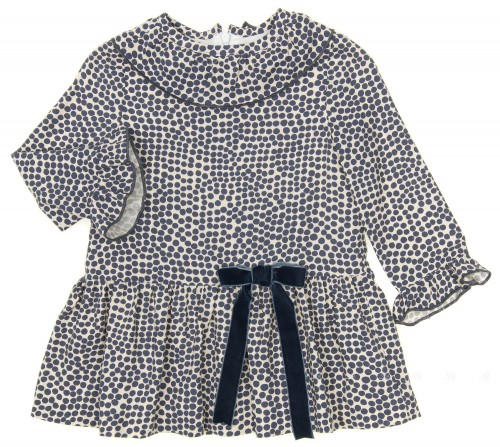 Ivory & Dark Blue Polka Dot Print Dress with Velvet Bow