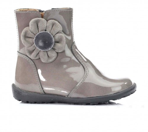 Grey Patent Boots With Suede & Velvet Flower