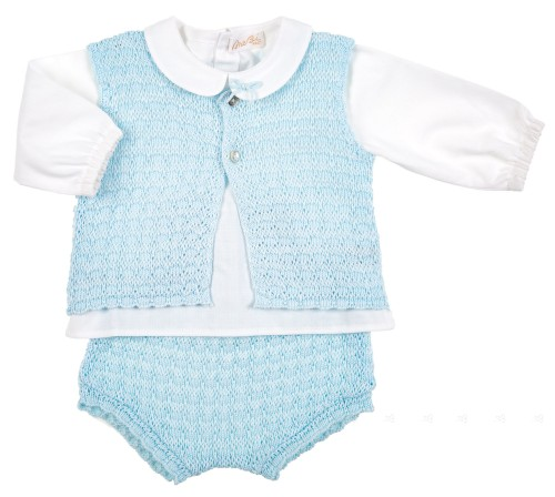 Baby Blue & White Knitted Cotton 3 Piece Set