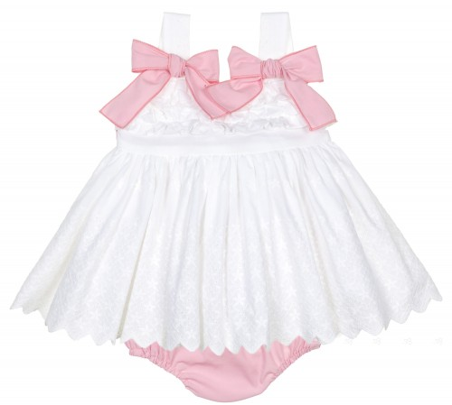 Baby Girls White & Pink Embroidered Dress Set