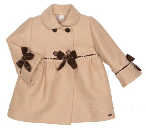 Baby Beige Coat with Brown Velvet Bows