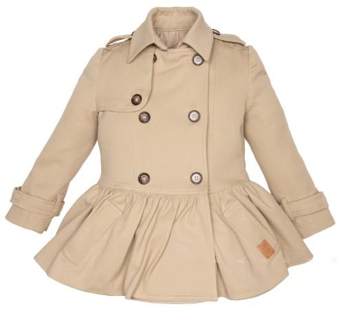 Girls Beige Cotton Trench Coat