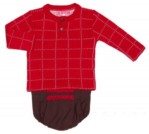 Baby Boys Red Sweater & Chocolate Knickers Set