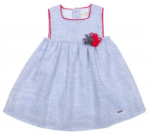 Girls Blue Dress with Red Trim & Flowers