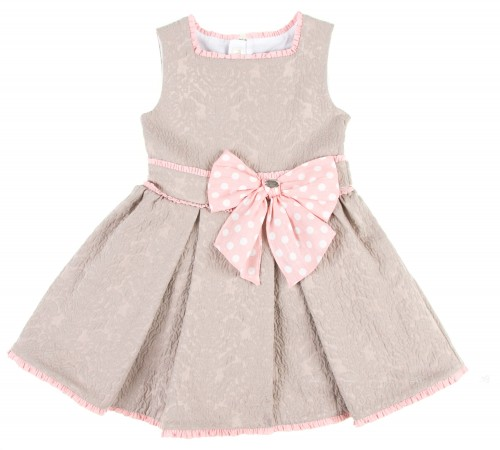 Beige & Pale Pink Jacquard Structured Dress With Spot Belt