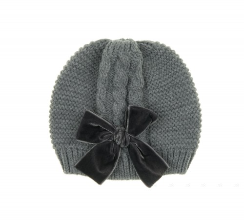 Gray Knitted Hat with Velvet Bow