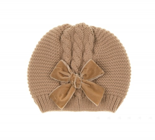 Beige Knitted Hat with Velvet Bow