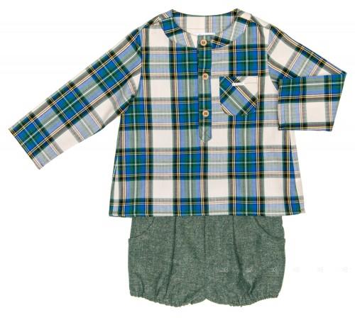 Baby Boys Green Checked Shirt & Cheviot Short Set