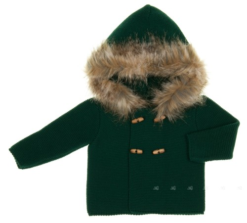 Bottle Green Knitted Cardigan With Synthetic Fur Hood