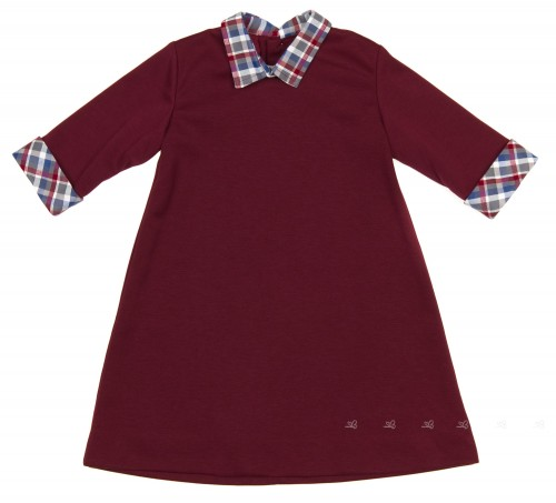 Girls Burdundy Jersey Dress with Checked Collar & Cuffs