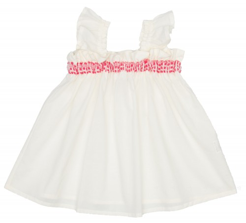 Ivory & Coral Pink Frilled Sleeveless Top