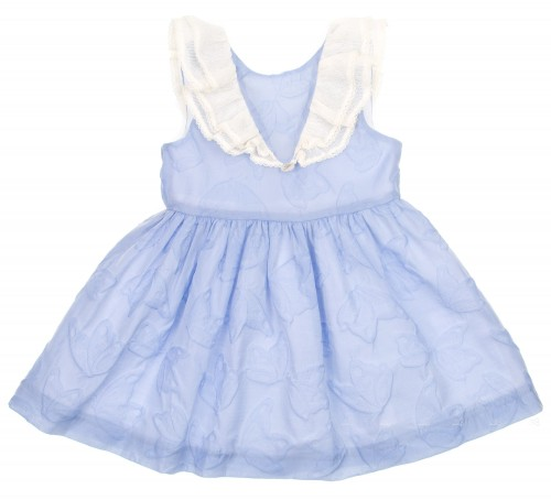 Pale Blue & Ivory Butterfly Brocade Dress