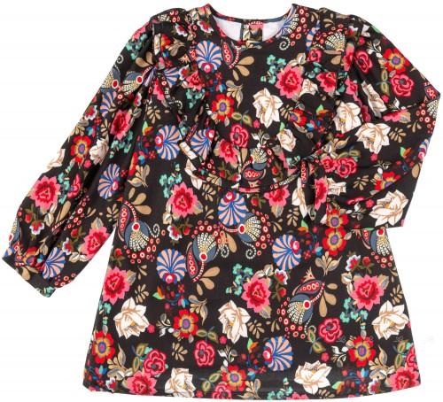 Vestido Niña Estampado Floral Negro & Multicolor