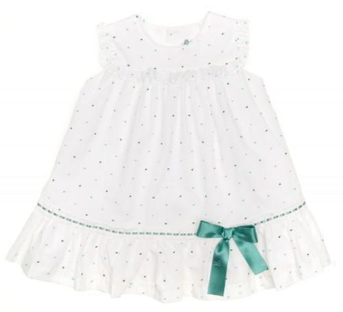 Baby White & Aqua Green Polka Dot Dress